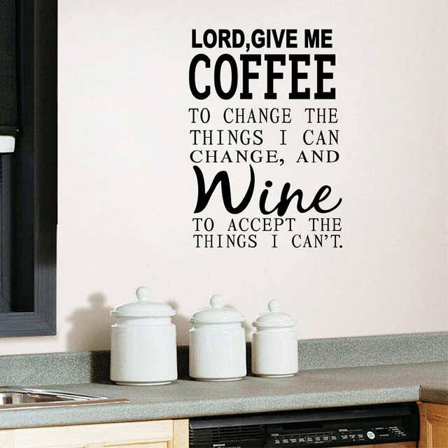 Free shipping lord give me coffee wine kitchen restaurant wall decal vinyl letter quote stickers