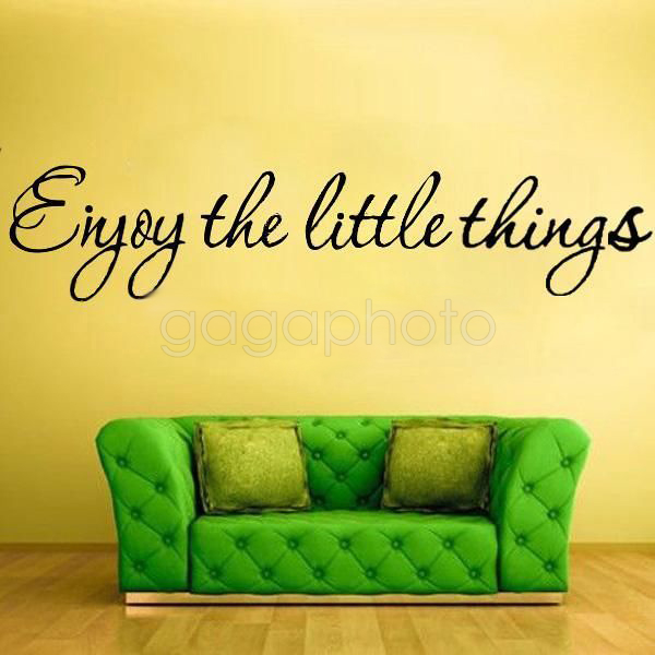 Hot Sale Black Stylish Enjoy The Little Things Art Decals Pvc Wall Stickers Room Home Diy Decoration English