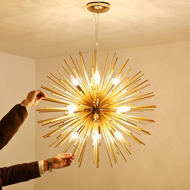цены Nordic post-modern living room bedroom restaurant golden ball chandelier lighting art dandelion LED chandelier led lighting lamp