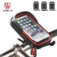 2017 Wheel Up Bike Waterproof Phone Bag TPU Touch Screen Cell Phone Holder Bicycle Handlebar Frame