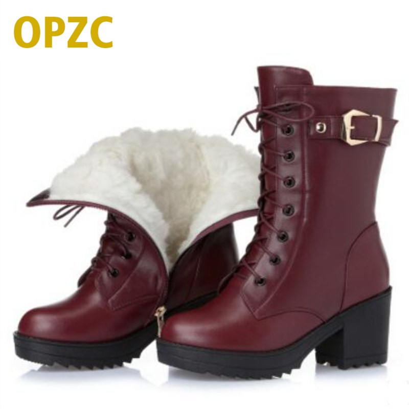 High-heeled genuine leather women winter boots, thick wool warm women Martin boots, high-quality female snow boots de la chance winter women boots high quality female genuine leather boots work