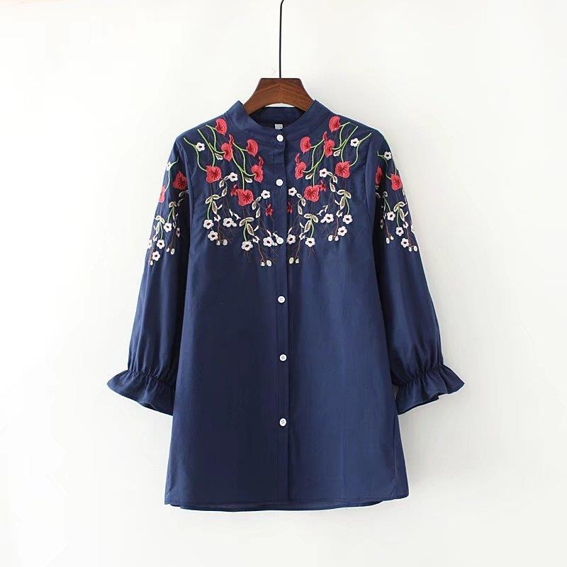 plus size Embroidery Blouse Shirt Cotton Linen Women Blouses Camisas Femininas Embroidered Tops Summer Fashion Female Clothing