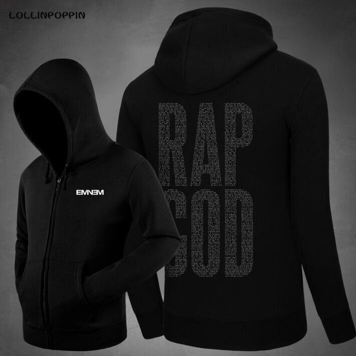 Rap God Eminem Hoodies Fleece Zip Up Cardigans New 2017 Mens Hiphop Rapper Hoodie Streetwear Hoody