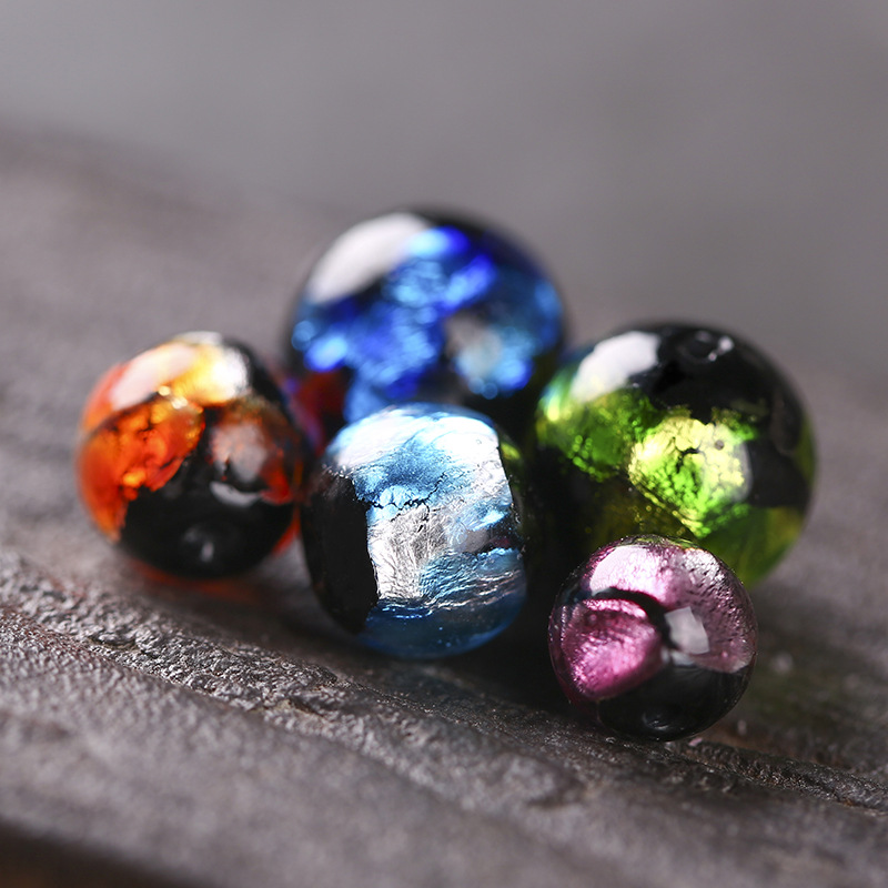 12 LARGE HOLE EUROPEAN STYLE CZECH GLASS BEADS mm GREAT FOR LEATHER - 8PCS