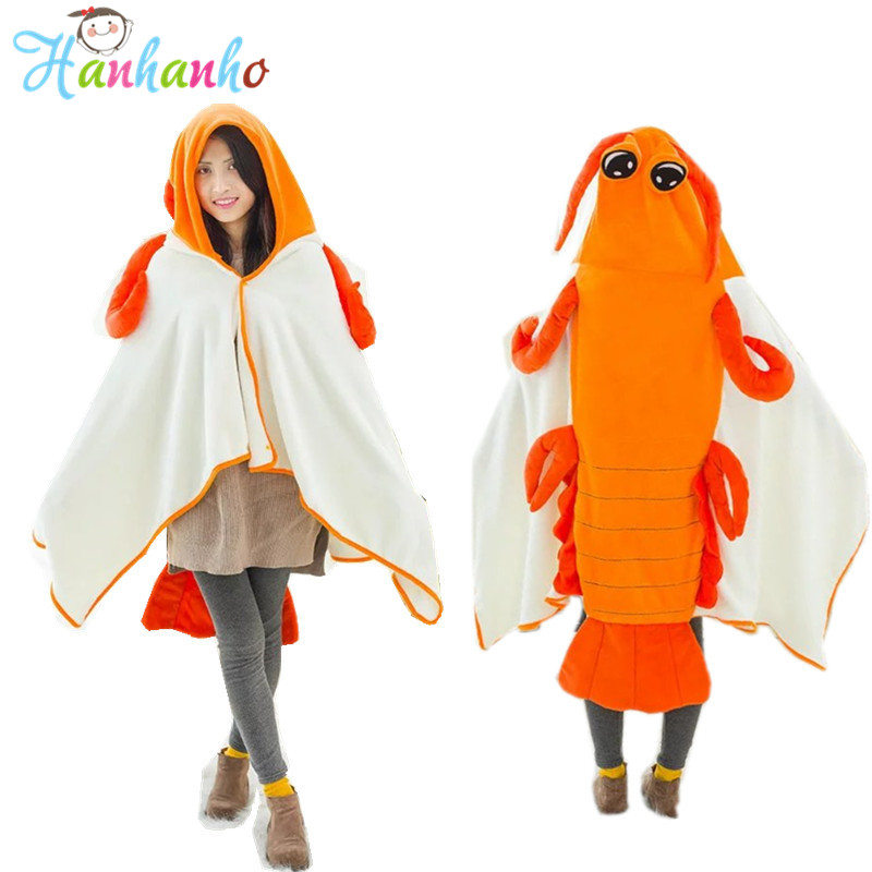 Flannel Mantis Shrimp Bath Towel Funny Plush Toy Cappa High Quality Soft Amice Blanket Cute Washcloth 150CM title=
