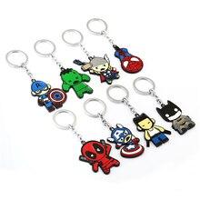 J store Spider Man Deadpool Batman Captain America Thor hero Model Alloy Keychain For Fans Key Chain sleutelhanger ring JJ11885