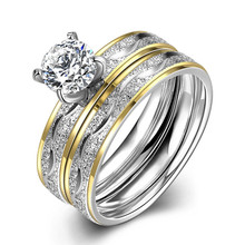 2 PCS Set Zircon 316L Stainless Steel Double Rings For Women Gold Color Crystal Female Engagement Wedding Bridal Punk Rings