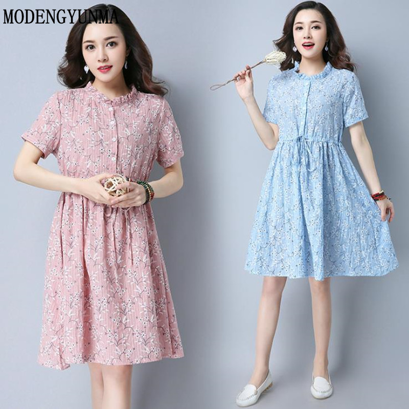 MODENGYUNMA Ties Waist Floral Printed Linen Maternity Dress 2018 summer Fashion Clothes for Pregnant Women Pregnancy Clothing