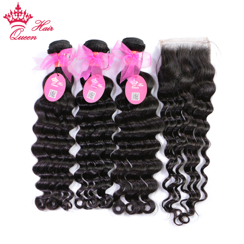Queen Hair Products Brazilian Natural Wave More Wave Lace Closure Remy Weft Hair Weave 3 Bundles