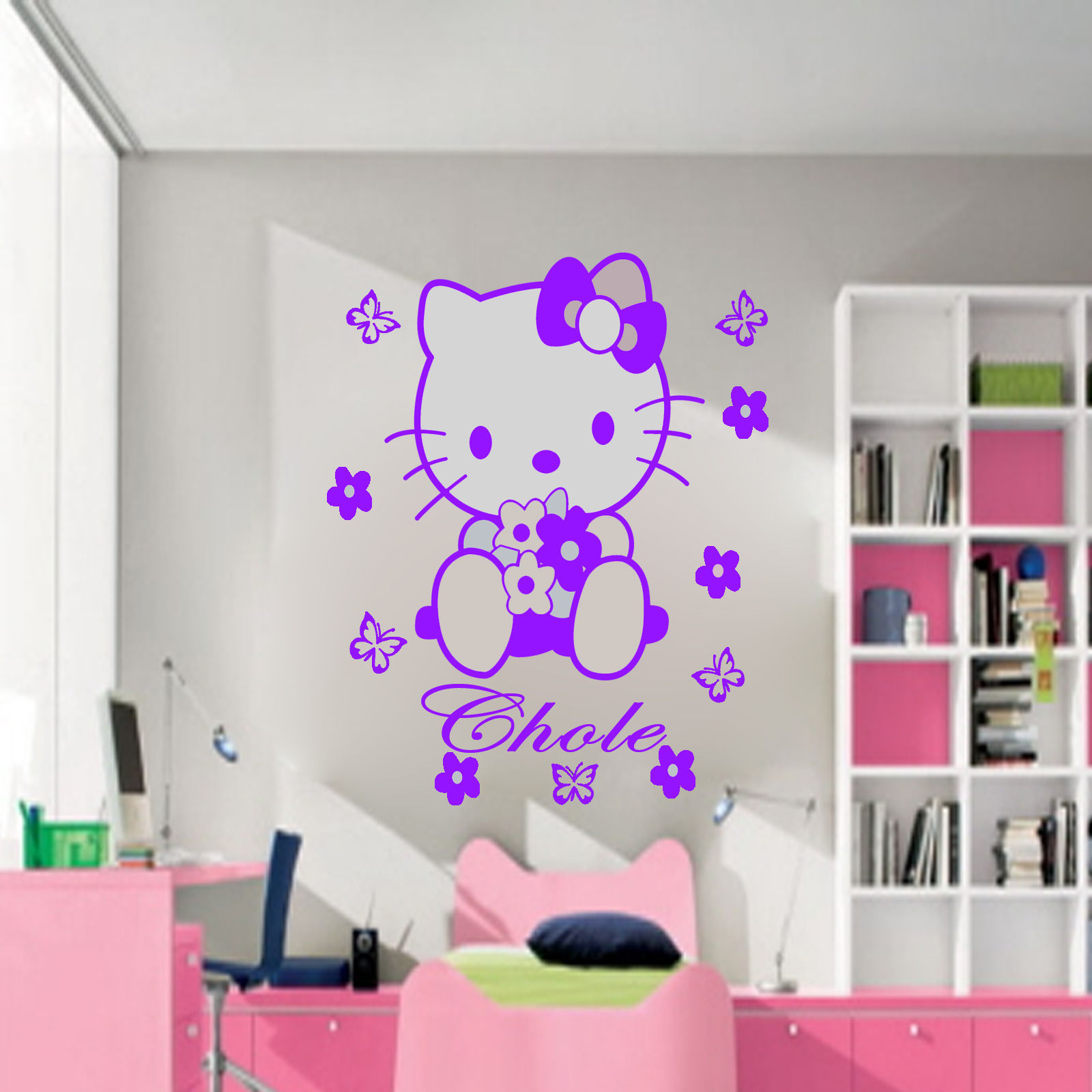 Hello kitty bedroom wall stickers - W125 Hello Kitty Fairy Personalised Wall Sticker Art Decal Mural Vinyl Butterfly For Girl S Room Decor