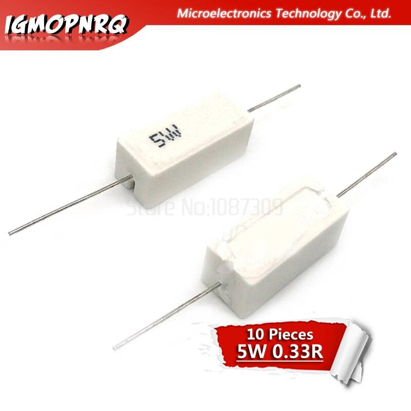 10 шт. 5 Вт 0,33 Ом Сопротивление цементу 0.33R 0.33ohm R33ohm 5W-0.33R