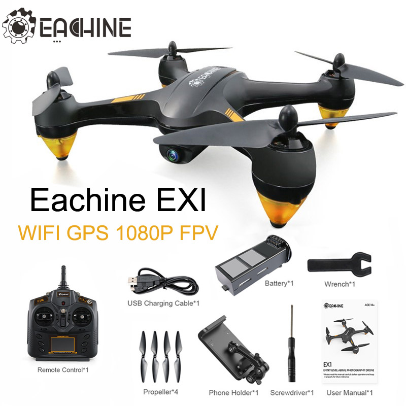 Hot New Eachine EX1 Brushless Double GPS WIFI FPV With 1080P HD Camera One Key Return Headless Mode RC Drone Quadcopter RTF Toy jxd 509w wifi fpv rc quadcopter rtf 2 4ghz with camera headless mode one key return christmas gift jxd 509 wifi version