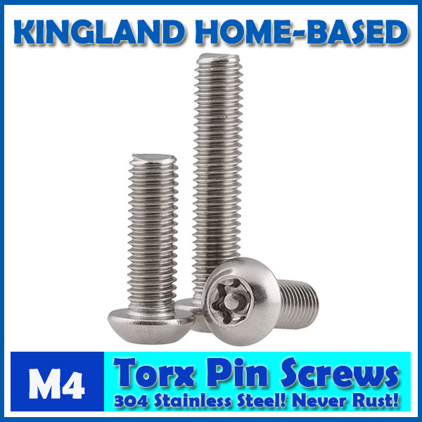 M4 Torx 6-Lobe Pan Round Head Six Lobe Pin In Torx Security Screw Bolt 304 Stainless Steel Pickproof Theftproof 100pcs lot st4 2 l stainless steel six lobe round head self tapping screw sus 304 torx screw torxstnp