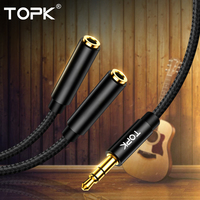 TOPK 3.5mm Headphone Splitter Audio Cable 1 Male to 2 Female Jack 3.5mm Splitter Adapter Aux Cable for Computer Samsung MP3