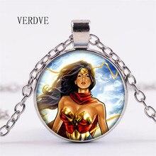 Verdve Высокое качество модные Wonder Woman Интимные аксессуары кулон Цепочки и ожерелья 2018 Новый Рождество Стекло кристалл кулон Цепочки и ожерелья