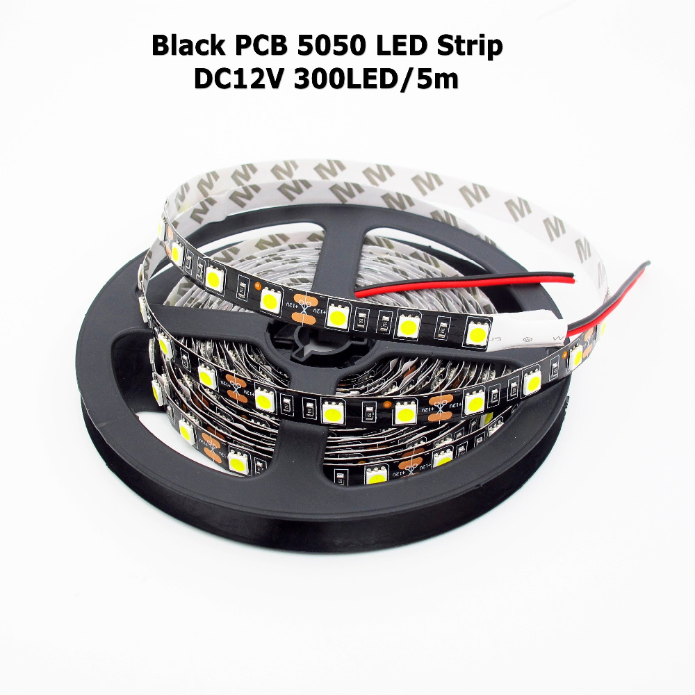 Black PCB LED Strip 5050 Flexible Light,DC 12V,60Led/m,5m/lot,White,Warm White,Red,Green,Blue,RGB, IP65 Waterproof image