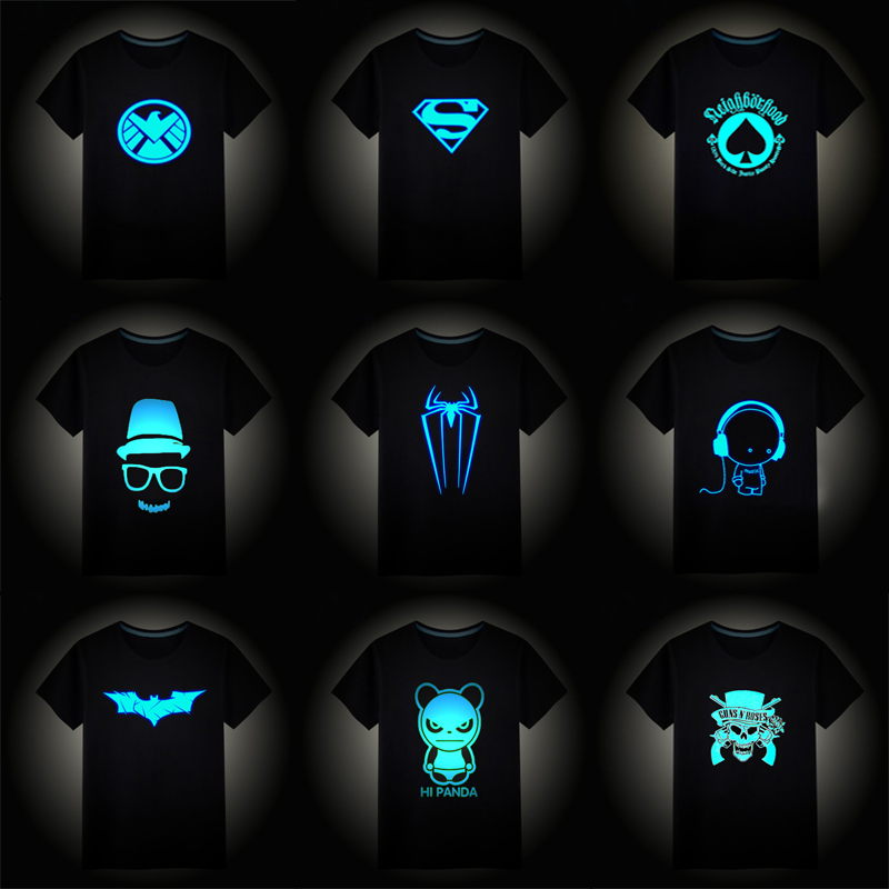 2018 Christmas Boys Girls Luminous Short Sleeves T-Shirts Children's Tshirt Superman Batman T Shirt Baby Girl Tops Kids Tees(China)