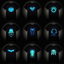 Рождественские светящиеся футболки с короткими рукавами для мальчиков и девочек детская футболка с суперменом и Бэтменом топы для маленьких девочек, детские футболки