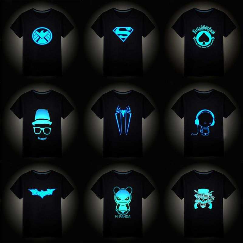 2018 Christmas Boys Girls Luminous Short Sleeves T-Shirts Children's Tshirt Superman Batman T Shirt Baby Girl Tops Kids Tees