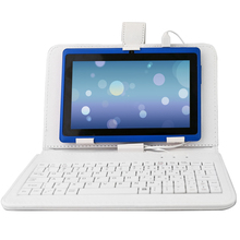 YUNTAB 7 inch  blue color Q88 Android 4.4 Tablet PC touch screen 1024*600 Quad Core  with dual camera(add white keyboard)