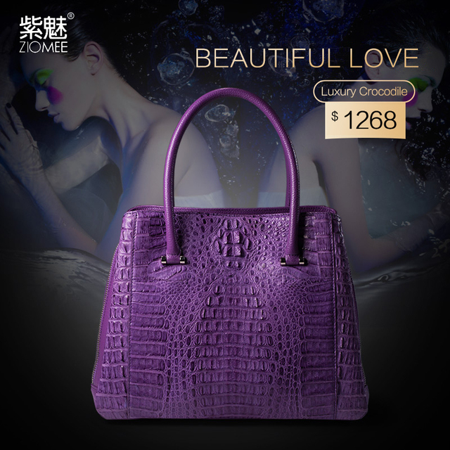 ZIOMEE socialite genuine crocodile leather hand bag women customized evening party purple black tote bags luxury brand handbag