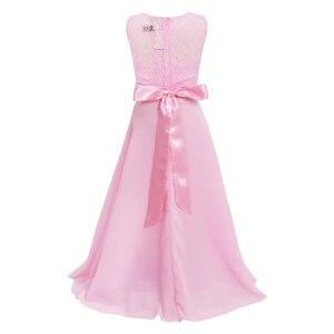 Image 2 - פרחוני תחרה פרח ילדה שמלות שיפון ללא שרוולים שמלת בנות מקסי שמלה לחתונה מסיבת תחרות נסיכת Vestidos נשף