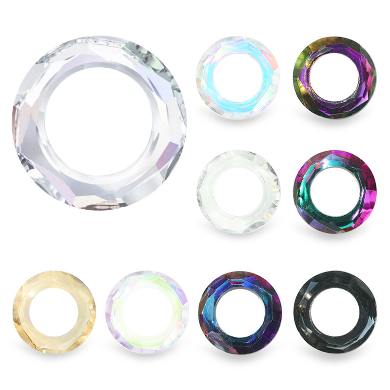 Rhinestone Jewelry Cosmic-Ring Glass Nail-Art-Decoration Crystal Round-Shape Chameleon