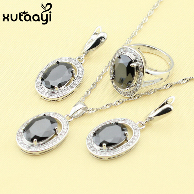 Hot-selling 925 Silver Women's Health Fashion Round Jewelry Set Superb Black Created Sapphire White Crystal Ring Size 6/7/8/9/10