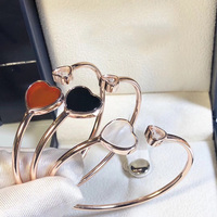 Fashion Classic Brand 925 Sterling Silver Heart Bracelet Luxury Natural Stone Bangle Charms Rose Gold For Women Jewelry