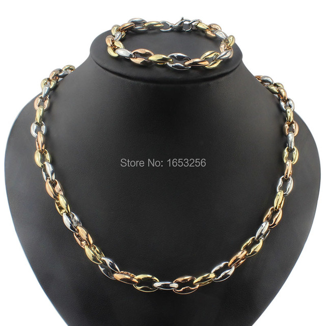 3 Tone Rose Gold Silver Gold Collarbone chain Necklace Bracelet