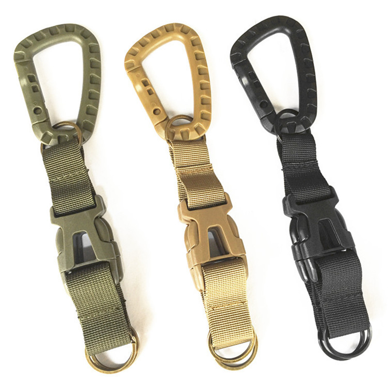 Outdoor Camping Equipment EDC Muti Tool Carabiner Keychain Buckle Molle Webbing Backpack Strap Belt Clip Hiking Accessories