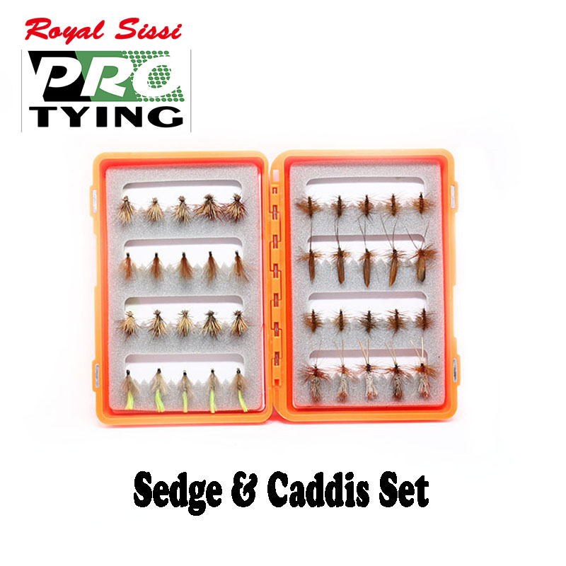 Pro Tying 40pcs box caddis sedges assorted fly fishing flies for surface feeder artificial insect lure
