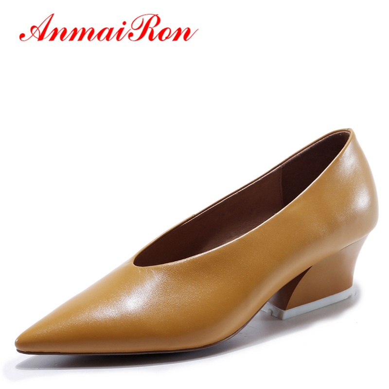 ANMAIRON Pointed Toe Women Pumps Low Heels Slip-on Shoes Woman Genuine Leather Shoes Women Concise Yellow Black Office Shoes anmairon women pumps 2018 low heel spring court shoes woman pointed toe pumps med heels silver gold women black giltter shoes