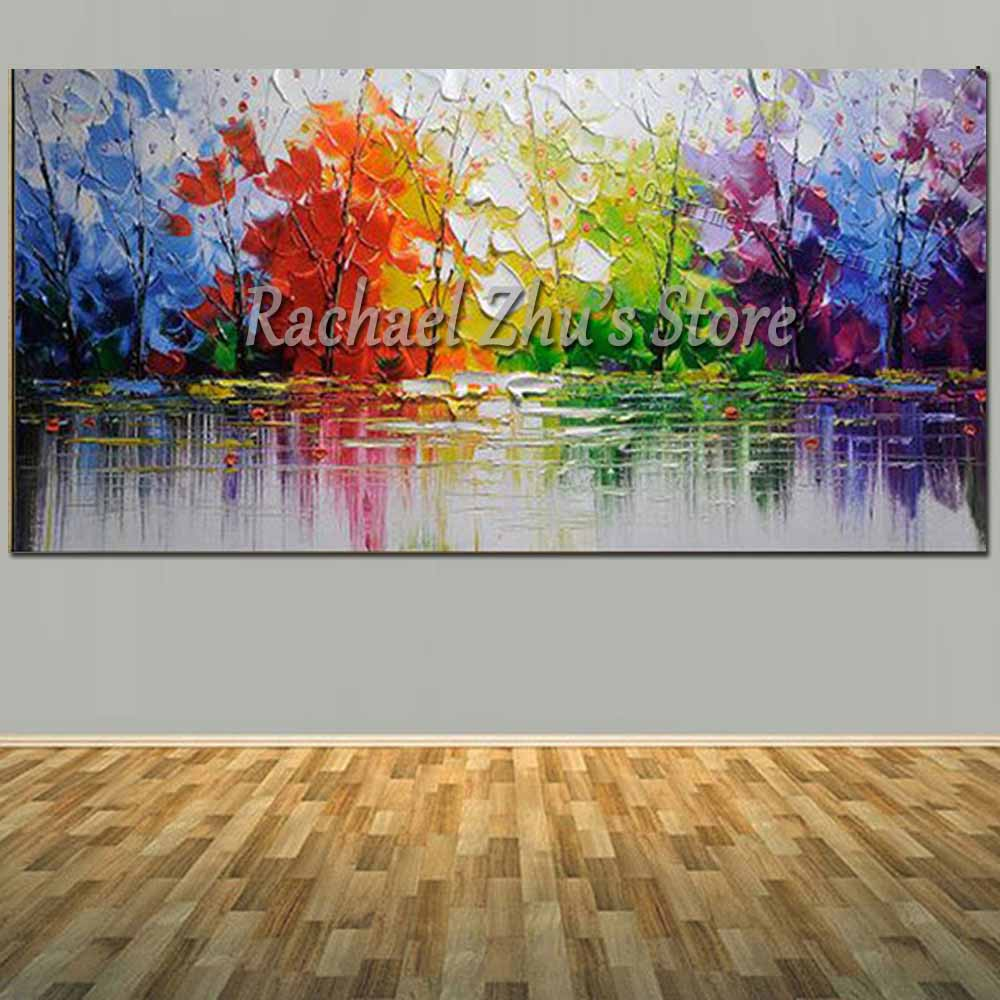 Hand Painted Abstract Colorful Palette Knife River Landscape Oil Painting On Canvas Wall Picture Living Room Bedroom Home Decor