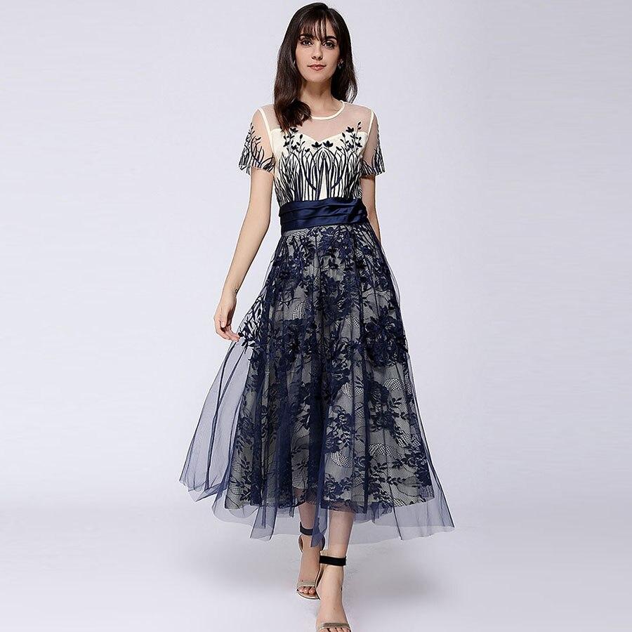 숙녀 메쉬 드레스 여름 2018 짧은 소매 발목 길이 속이 빈 레이스 해군 꽃 자수 슬림 롱 드레스-에서드레스부터 여성 의류 의  그룹 2