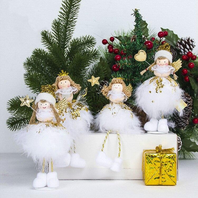 Mini Cute Angel Santa Sequin Christmas Tree Pendants Ornaments Home Decoration