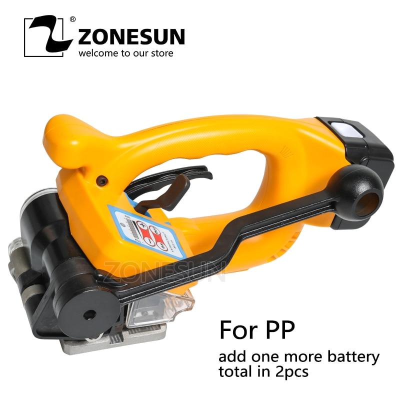 ZONESUN автоматический Портативный и электрический Батарея питание PP Пластик стреппинг машины рук обвязки Упаковка инструмент для 16-19 мм