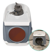Top-Entry Cat Litter Box Kitty Free Cabin Washroom Double-Door Design Front-Entry with Large Scoop