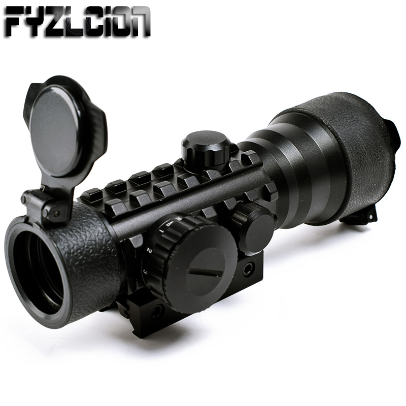 Tactical 2x42 2x Magnification Green & Red Dot Laser Rifle Scope Sight Airgun Air Rifle Scope W/ 20mm Weaver Rail