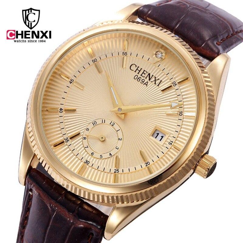Brand CHENXI Men Dress Watch Genuine Leather Simple Minimalism Gold Man Business Quartz-watch Unique Calendar Male Gift Clock 2016 chenxi calendar gold quartz watch