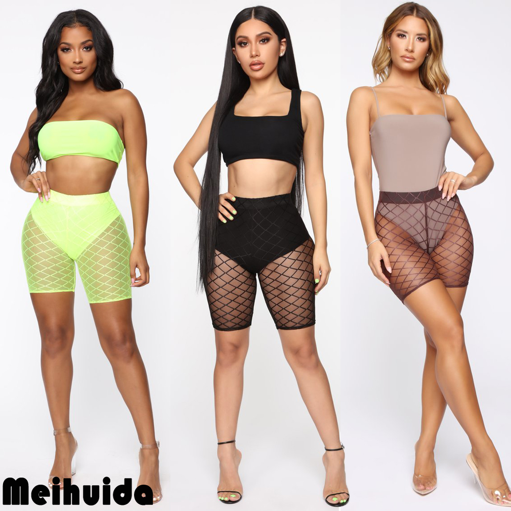 2019 Newest Fashion Summer Women Fishnet  Shorts See Through Hollow Out  Shorts Swimwear Trousers