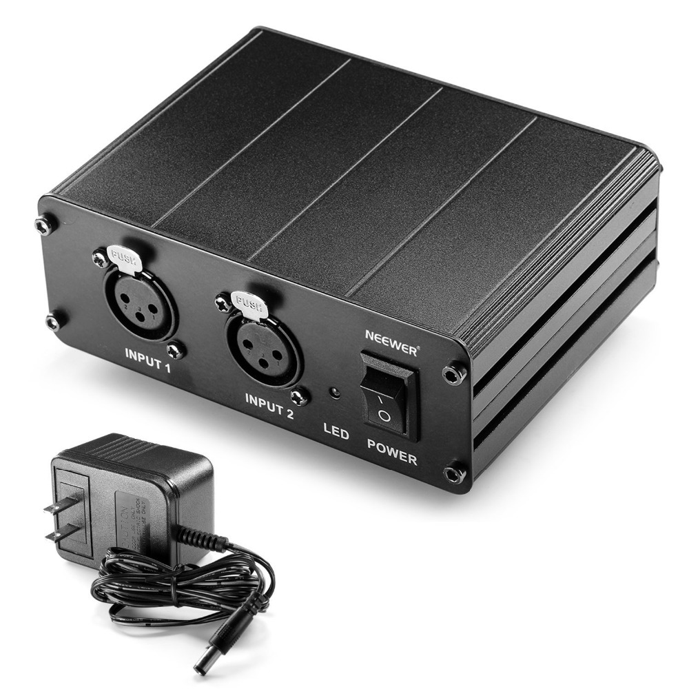 Neewer 2-Channel 48V Phantom Power Supply+Power Adapter for Condenser Microphones/Transfer Sound Signal to External Sound Card professional 48v dual phantom power supply for scm series microphones pantom powe