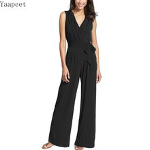 New Europe Italy Black Fashion Temperament Casual Elegant Wide Leg Belt Women High Waist Jumpsuit hot new trends 2019