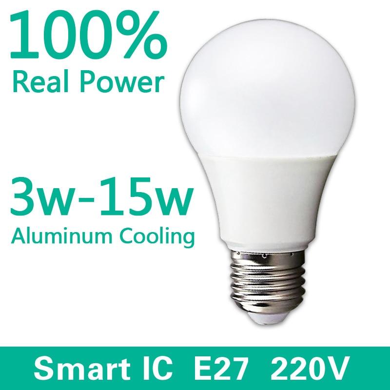 LED Bulb Lamps E27 220V-240V Light Bulb Smart IC Real Power 3W 5W 7W 9W 12W 15W High Brightness Lampada LED Bombillas led bulb e27 3w 5w 7w 9w 12w 15w real power 220v energy saving led lamp aluminium 2835smd led spotlight bulb smart ic no flicker