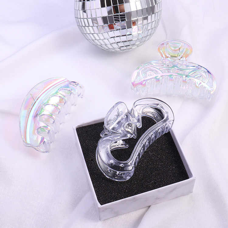 Fashion women lovely rainbow color transparent Hair claws girl/'s cute side clips