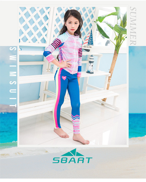 2b999dec8 Children Long Sleeve Swimwear Spearfishing Surfing Rashguard Shirts Pants  Girls Bathing Suits Beach Wear Diving Suit With Zipper