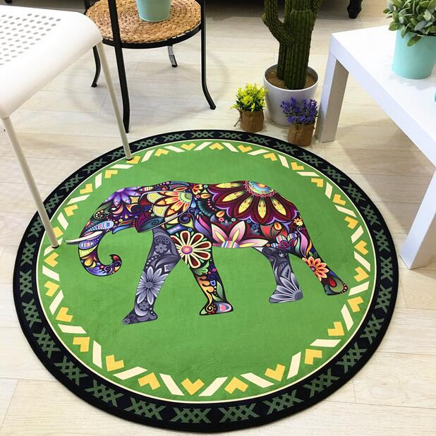 Thailand Elephant Round Home Rug And Carpets For Living