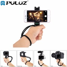 PULUZ F Mount Smartphone Grip Handle Rig with Wrist Strap, Tripod Mount Adapter & Cold Shoe Mount for Led Video Light and Microp