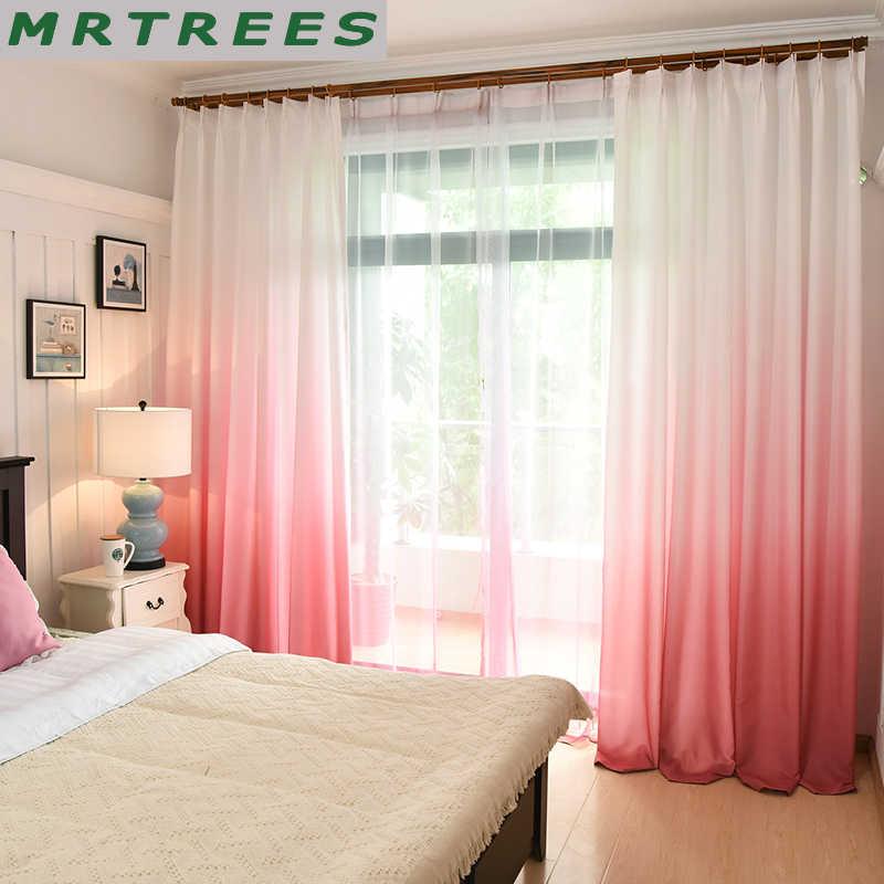 MRTREES Gradient ม่านบังแดดสำหรับห้องนั่งเล่นห้องครัวโมเดิร์นผ้าม่าน Tulle สำหรับห้องนอนม่านหน้าต่างผ้า