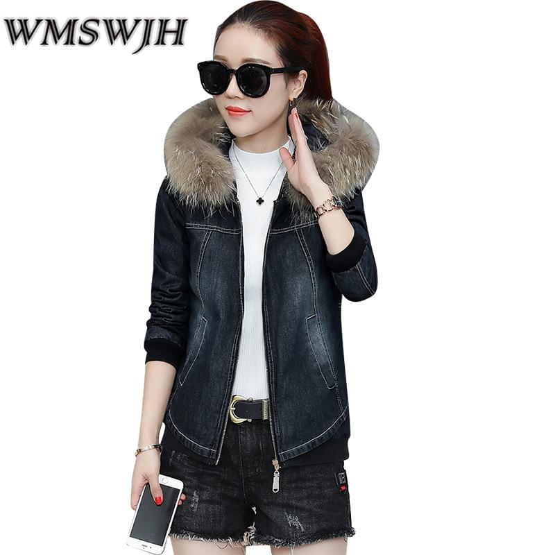 купить 2017 Denim Jacket Women Winter Coat Parka Fur Hooded Warm Fashion Overcoat Outwear Jeans Parka Winter Jackets Coat Female A17 дешево